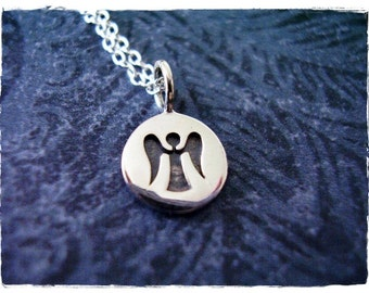 Tiny Stamped Angel Necklace - Sterling Silver Stamped Angel Charm on a Delicate Sterling Silver Cable Chain or Charm Only