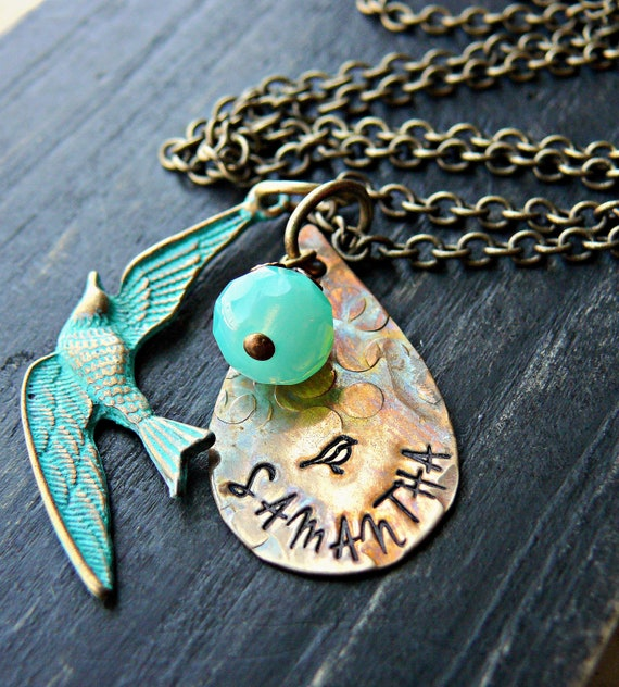 Patina Teal Brass Personalized Necklace - Personalized Necklace - Bird Personalized Necklace - Bird Image Personalized Necklace
