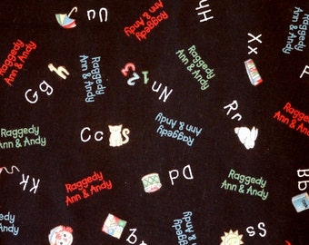 Raggedy Ann Black Chalkboard Print, Quilting Cotton Fabric, Daisy Kingdom 1755, Red Green Blue, half yard, B14