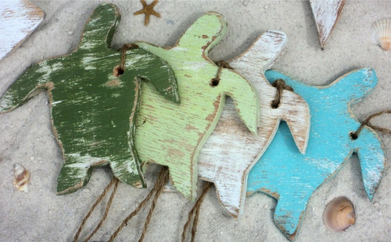 Sea Turtles, Star Fish,12 Beach Themed Decorative Wooden Tags, Coastal Decor, Nautical