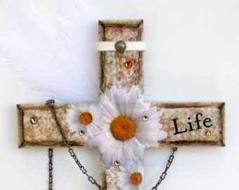 Decoupaged Wall Cross Catholic Gift Crucifix Christian Art White Daisies Religious Art Word Life