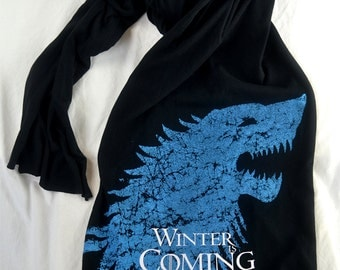 Game of Thrones SCARF Winter Is Coming! GoT Season 6 Is Coming! Scarf of House Stark & Direwolf! American Apparel Jersey Cotton Long Scarf