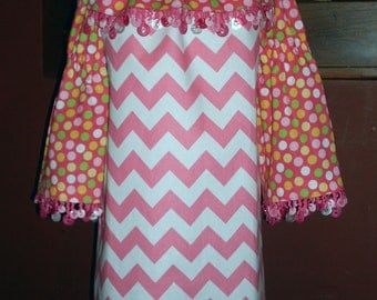 Double Yummy Bubble Gummy Peasant Dress, Size 3-4, 5-6, 7-8, and 9-10.