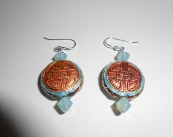 Asian inspired pierced earrings