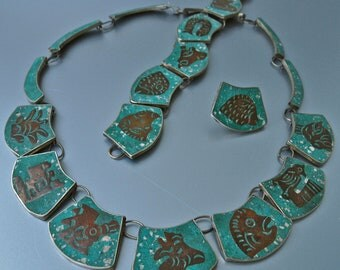 Mid-Century Demi Parure 50's Crushed Turquoise and Silver Mexican Zodiac Figural Segmented Set