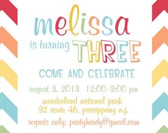 Rainbow Party Invitation - Rainbow Birthday Invitation - Girl's Birthday Party Printable Invitation-Chevron Rainbow Invite