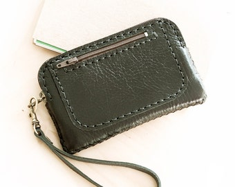 SALE, Hand Sewn Leather Wristlet Pouch in Black