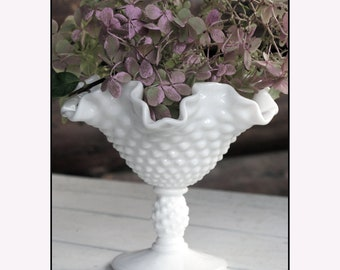 Milk Glass Wedding Centerpiece / Fenton Milk Glass / Fenton Hobnail Compote
