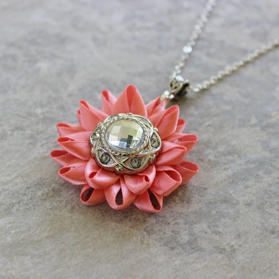coral necklace coral pink necklace pink flower necklace