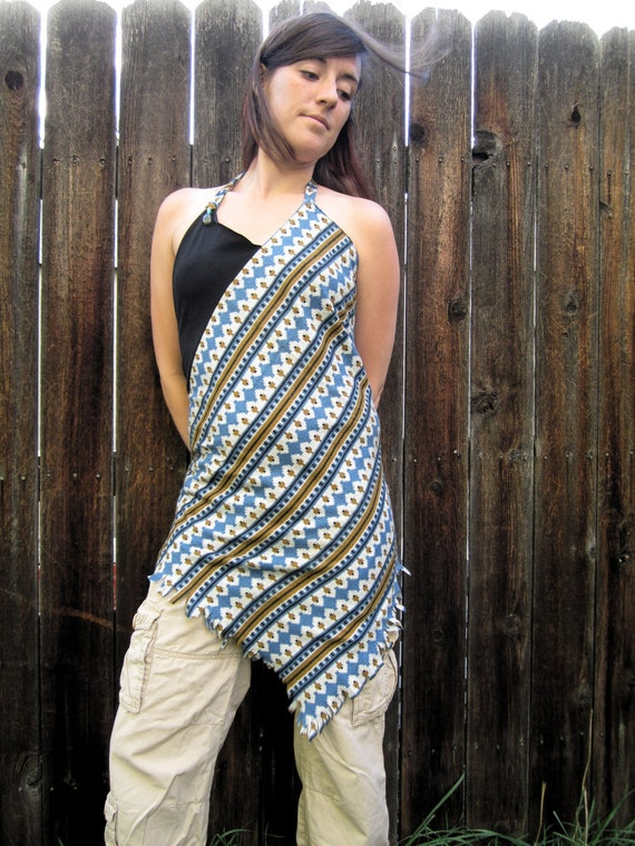Bohemian Backless Halter Top- Tribal Print- Upcycled Clothing- Hippie-Gypsy