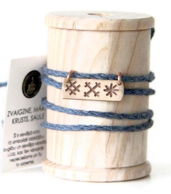 STAR, CROSS, SUN- sing necklace or bracelet- handmade bronze pendant on linen thread