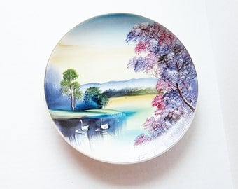 Swan Lake Vintage Hand Painted Plate - Decorative Home Decor - Mid Century Art  Made In Japan - Colorful Cabinet Plate - Decorative Plate