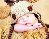 Baby Hat - Moose Hat - Baby Halloween Costume Hat - Baby Moose Hat - Newborn Cute and Soft Moose Earflap - by JoJosBootique