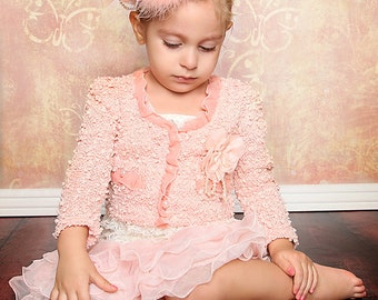 Baby Girl Dress, Peaches and Cream Vintage Two Piece Ruffled Lace Dress and Jacket for Photo Shoots, Birthdays, and Formal Occasions