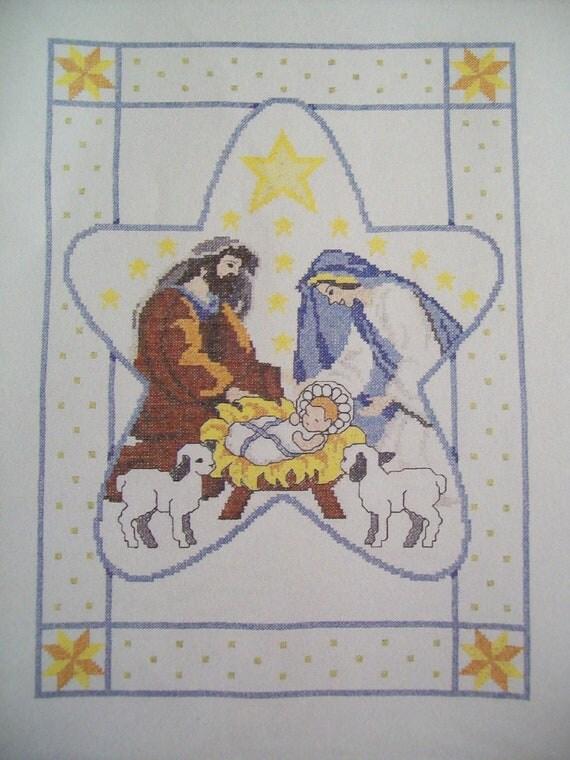 Christmas Cross Stitch Destash Nativity Lap Quilt Kit By