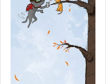 Hang In There, Baby - Meu kitten rescue print 9 x 20 inches