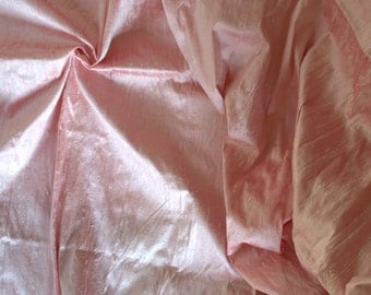Silk Dupioni in Baby pink with Red shimmers, Fat Quarter D 166