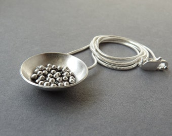 Sterling silver domed pendant. Granulated pendant. Sterling silver necklace. Silver jewellery. MADE TO ORDER.