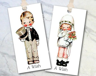Vintage Bride and Groom Digital Collage Sheet INSTANT DOWNLOAD for Wedding Wish Tree Gift Tags Cards Wedding Album GalleryCat CS195