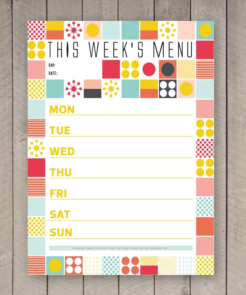 Printable Menu Weekly Food Planner Organizer Mid Century Grid