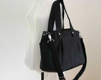 SALE - Black Water-resistant Nylon Bag - 3 Compartments / Tote / Shoulder bag / Diaper bag / Messenger / Beach / Gym / Travel