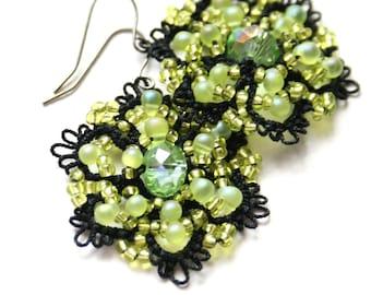 Black Lime Green Tatted Beaded Crystal Earrings