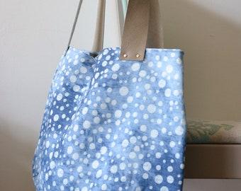 SALE blue tote - dotted bleached bag - denim dotted lightweight bag - cotton and linen shoulder bag - polkadot denim bag - gift for her