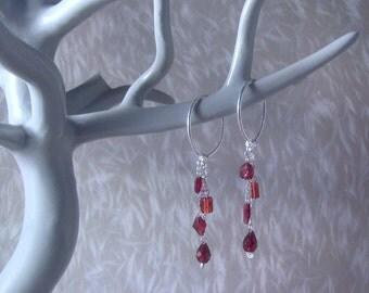 Valentine - Sterling Silver Oval Hoop Garnet Earrings; Burgundy Crimson Red Semi-precious Gemstone Pair; Romantic Gift for Her by InfinEight