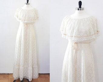 vintage boho Wedding dress/ bohemian lace dress/ bohemian/ festival dress/ wedding gown/ romantic dress/ prairie dress/ lace overlay/ 70s