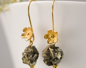 Pyrite Earrings - Gold Earrings - Flower Earrings - Gemstone Earrings
