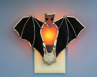 Stained Glass Black Bat Light Sensor Night Light