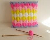 Decorative Pillow Knit Pattern PDF - cushion PHOTO tutorial unique knitting stitch - Instant DOWNLOAD