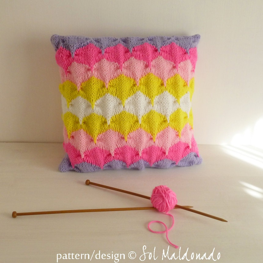 Knit Throw Pillow Cover Pattern : Knit decorative Pillow pattern/ tutorial PDF Geometric knitting - cushion PHOTO tutorial unique ...
