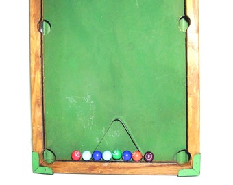 Vintage Toy Pool Table 1940s Billiards Game Rack 10 Billiard Pool Balls