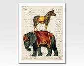 Art Print A4 Print Circus Elephant and Zebra on Vintage Ephemera Home Décor Original Design by Adidit Print no. 060