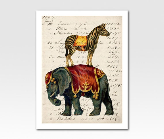 Art Print A4 Print Circus Elephant and Zebra on Vintage Ephemera Home Décor Original Design by Adidit Print no. 060