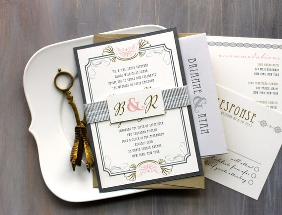 Art Deco Love - Modern Wedding Invitations, Romantic Wedding Invites, Gold and Peach Art Deco Invites - Purchase for a Sample