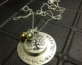 Family Tree Sterling Silver Disc Custom Hand Stamped Necklace