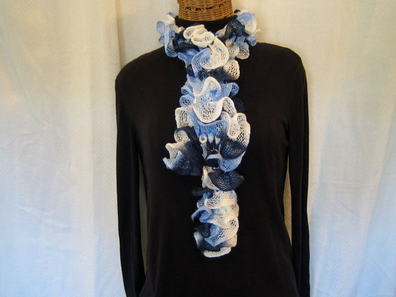 Knitted blue navy white ruffle scarf Women's frilly scarf flamenco