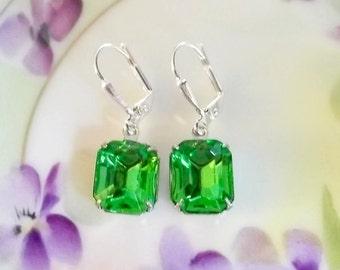 Lime Green Earrings Vintage 1950's Peridot Green Glass Rhinestone Earrings New Settings August Birthstone Gift Idea