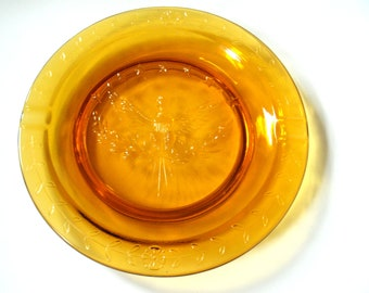 "Vintage Amber Glass Ashtray 9"" PRICE REDUCED"