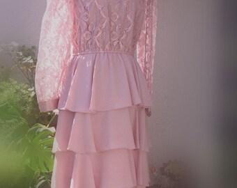 Sale Vintage 1950  Pink Lace Dress
