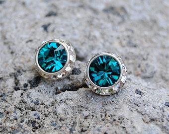 Teal Swarovski Earrings Small Sugar Sparklers Swarovski Teal Diamond Rhinestone Vintage Stud Earrings Mashugana