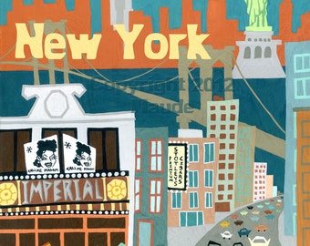 New York City Mid Century Modern Art Print Retro 1950s Style