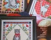 Lila Umstead 3 FANCY FELINES Folk Art Cats - Counted Cross Stitch Pattern Chart - fam