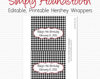 Candy Bar Wrapper, Black and White, Red, Houndstooth Birthday Party Favor, Bridal Shower Candy Bar Label -- Editable, Printable, Instant