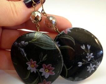 Flowers Black Earrings Decoupage Earrings decoupage jewelry