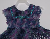 Crochet Dress Toddler Chenille Navy Purple Teal Pinafore Crochet From Vintage Pattern