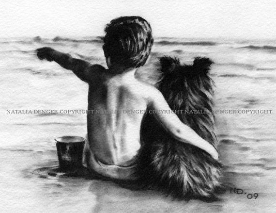 PAPER PRINT, Friends Forever, Charcoal, Available Framed, Boy, Dog, Vacation, Beach, Summer, Nursery, Kids Room, Children, Love, Hugs