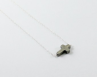 Mens cross necklace: sterling silver religious jewelry for men, Christian necklace, natural stone cross necklace, pyrite